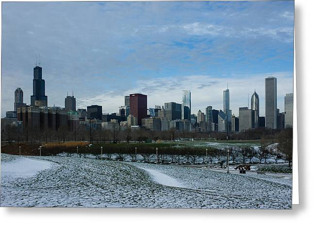 Wintry Greeting Cards - Wintry Windy City Skyline - Chicago Illinois Greeting Card by Georgia Mizuleva