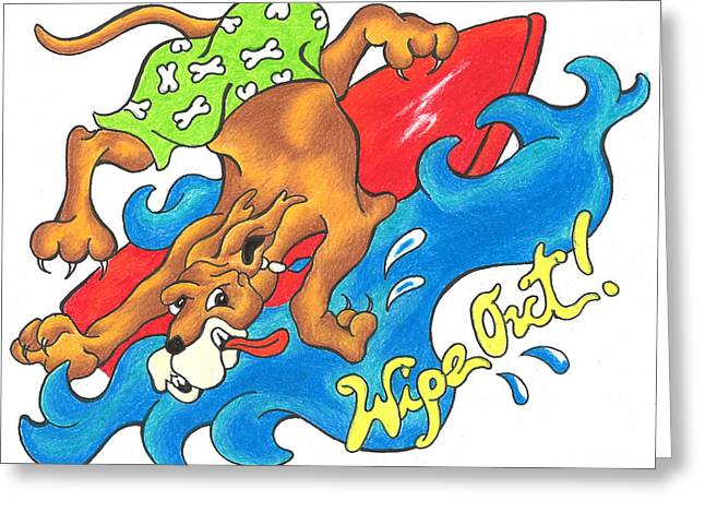 Andrew Michael Greeting Cards - Wipe Out Surfer Dog Greeting Card by Michael Andrew Frain