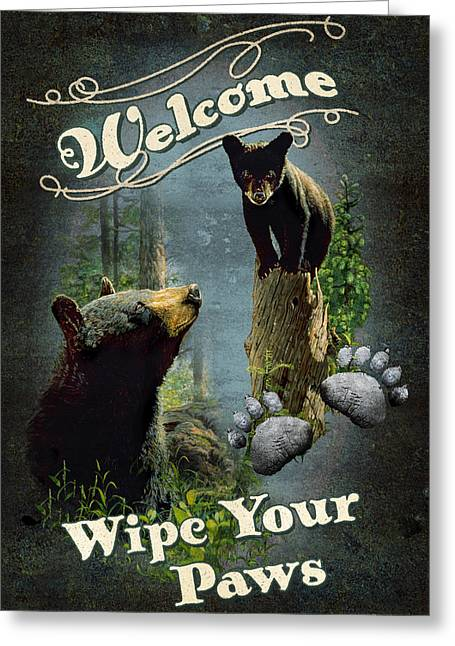 Mom Paintings Greeting Cards - Wipe Your Paws Greeting Card by JQ Licensing
