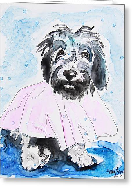 Yupo Paper Greeting Cards - Wipe Your Paws Greeting Card by Shaina Stinard