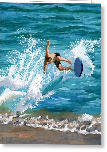 Whitewater Greeting Cards - Wipeout Greeting Card by Alice Leggett