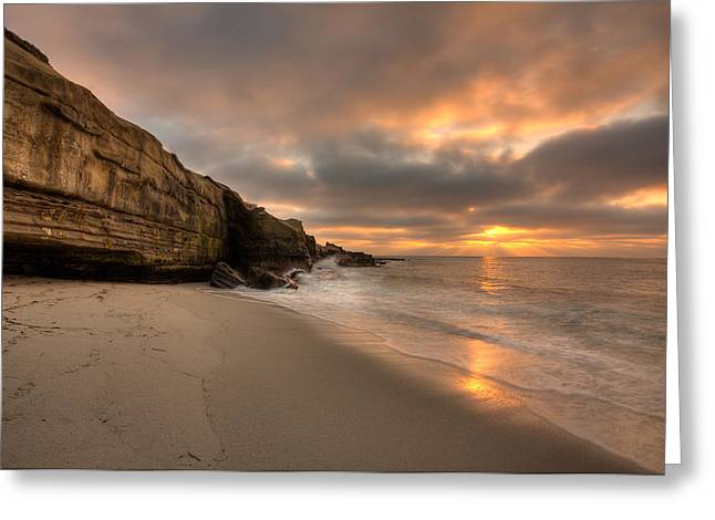 Hdr (high Dynamic Range) Greeting Cards - Wipeout Beach Sunset Greeting Card by Peter Tellone