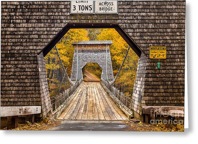Portland Photography Greeting Cards - Wire Bridge Greeting Card by Benjamin Williamson