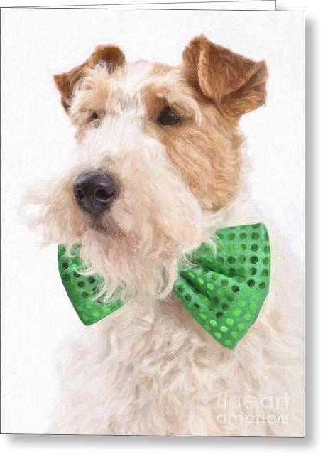 Bowtie Digital Greeting Cards - Wire Fox Terrier with Bowtie Greeting Card by Verena Matthew