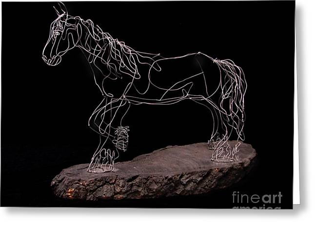 Rustic Sculptures Greeting Cards - Wire Horse Greeting Card by Samantha Stutzman