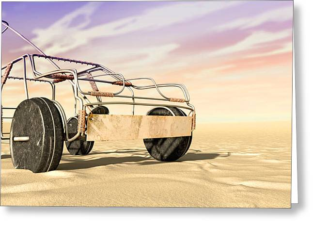 Wire Wheels Greeting Cards - Wire Toy Car In The Desert Perspective Greeting Card by Allan Swart