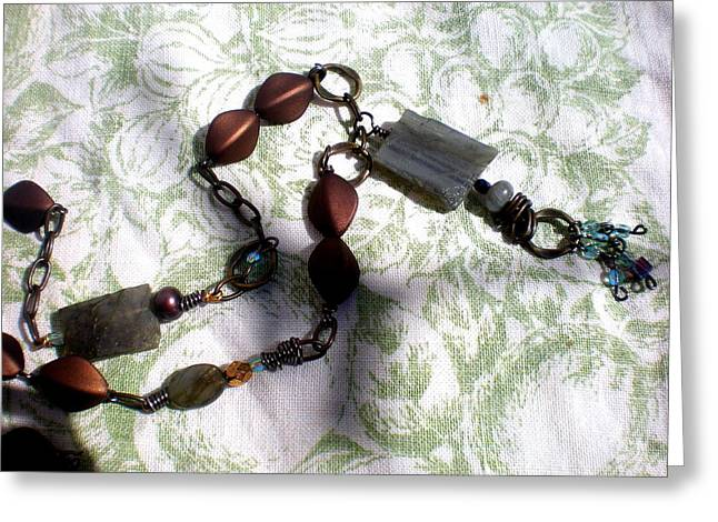 Wire Jewelry Greeting Cards - Wired Gemstone Necklace Greeting Card by Beth Sebring