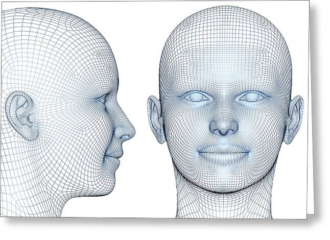 Wireframe Heads Greeting Card by Alfred Pasieka