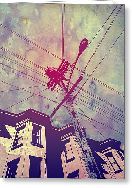 Building Greeting Cards - Wires Greeting Card by Giuseppe Cristiano