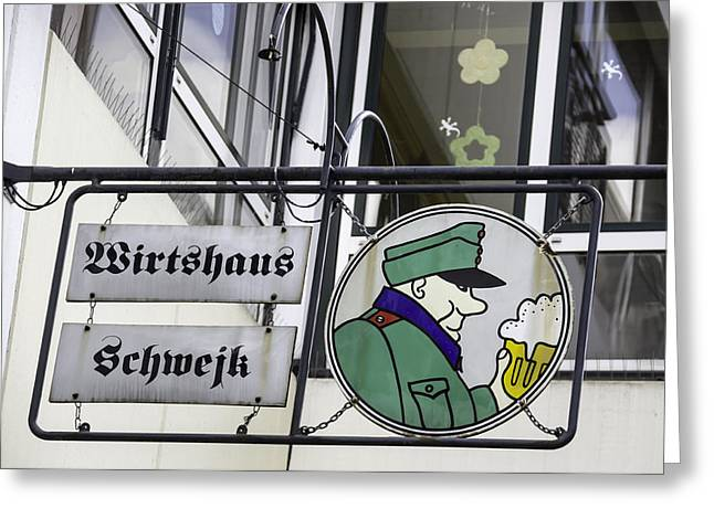 Bier Greeting Cards - Wirtshaus Schwejk Brauhaus Sign Cologne Germany Greeting Card by Teresa Mucha