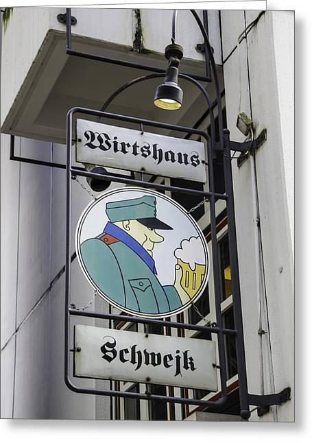 Bier Greeting Cards - Wirtshaus Schwejk Sign Cologne Germany Greeting Card by Teresa Mucha