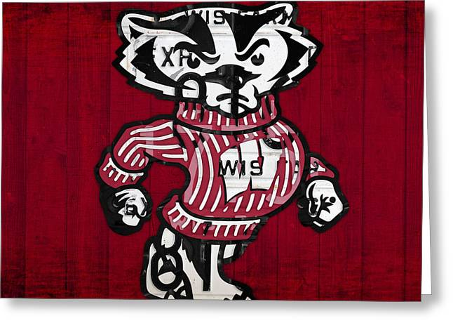 Wisconsin Art Greeting Cards - Wisconsin Badgers College Sports Team Retro Vintage Recycled License Plate Art Greeting Card by Design Turnpike