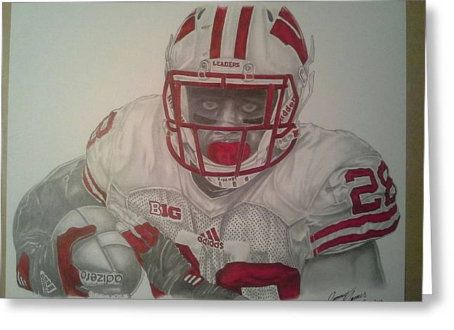 Running Back Drawings Greeting Cards - Wisconsin Badgers Montee Ball Greeting Card by Jimmy James