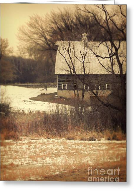 Winter Scenes Rural Scenes Greeting Cards - Wisconsin Barn in Winter Greeting Card by Jill Battaglia
