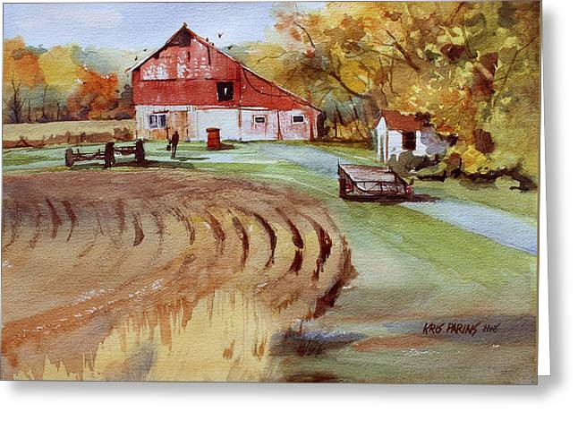 Farmers Field Paintings Greeting Cards - Wisconsin Barn Greeting Card by Kris Parins