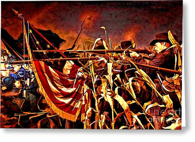 Brigade Greeting Cards - Wisconsin Black Hats at Antietam  Greeting Card by Tommy Anderson