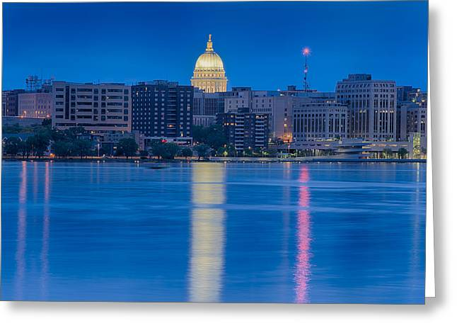 Lake Mendota Greeting Cards - Wisconsin Capitol Reflection Greeting Card by Sebastian Musial