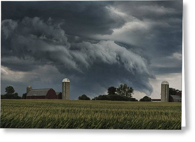 Barn Door Digital Greeting Cards - Wisconsin Farm Greeting Card by Jack Zulli