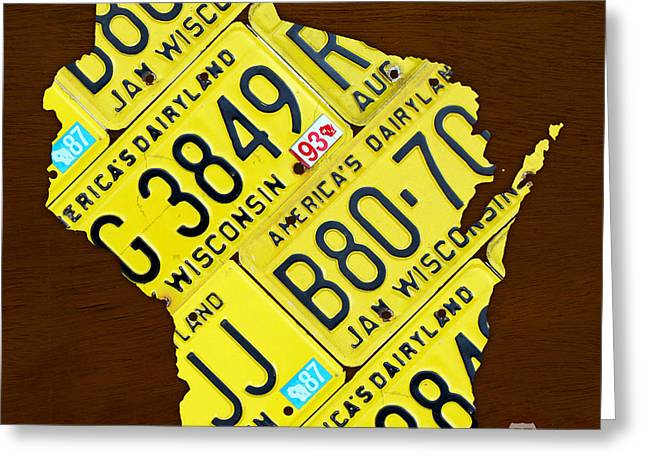 Metal Art Greeting Cards - Wisconsin License Plate Map by Design Turnpike Greeting Card by Design Turnpike