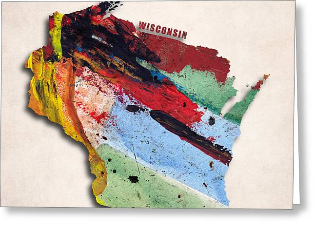 Wisconsin Art Greeting Cards - Wisconsin Map Art - Painted Map of Wisconsin Greeting Card by World Art Prints And Designs