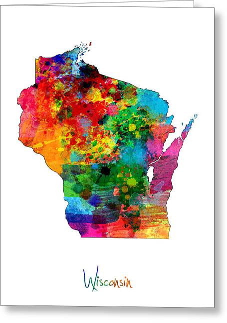 Cartography Digital Greeting Cards - Wisconsin Map Greeting Card by Michael Tompsett