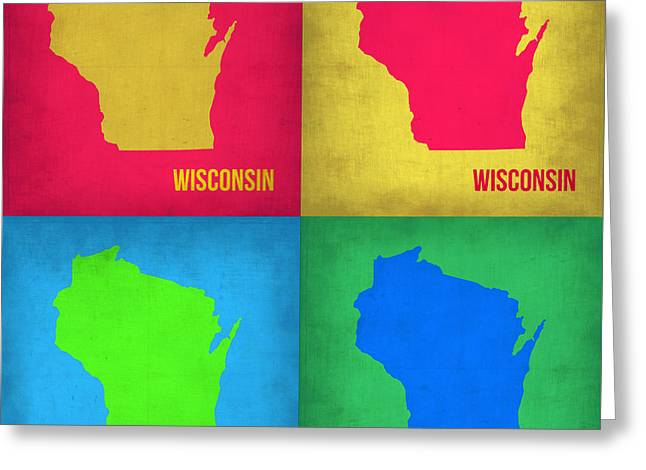 Wisconsin Art Greeting Cards - Wisconsin Pop Art Map 1 Greeting Card by Naxart Studio