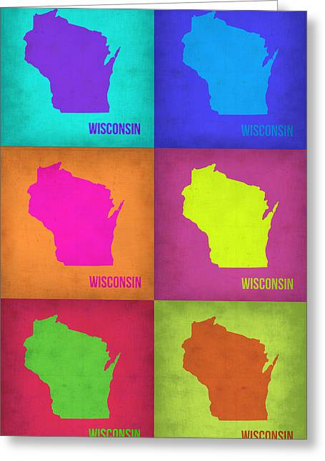 Homes Digital Art Greeting Cards - Wisconsin Pop Art Map 2 Greeting Card by Naxart Studio