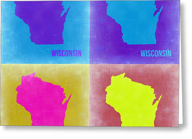 Wisconsin Art Greeting Cards - Wisconsin Pop Art Map 3 Greeting Card by Naxart Studio