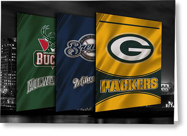Packers. Greeting Cards - Wisconsin Sports Teams Greeting Card by Joe Hamilton