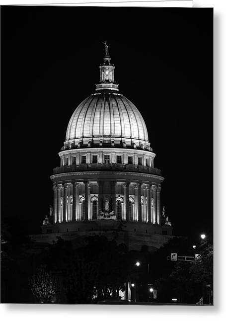 Madison Greeting Cards - Wisconsin State Capitol Building at Night Black and White Greeting Card by Sebastian Musial