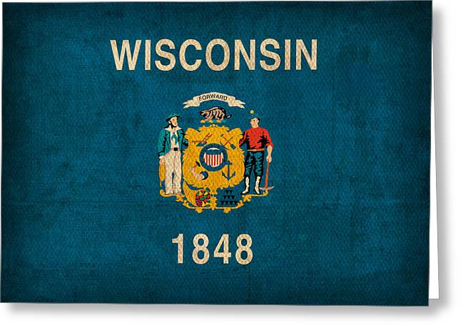Wisconsin Art Greeting Cards - Wisconsin State Flag Art on Worn Canvas Greeting Card by Design Turnpike
