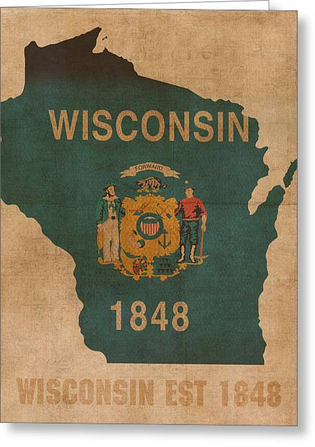 Dated Greeting Cards - Wisconsin State Flag Map Outline With Founding Date on Worn Parchment Background Greeting Card by Design Turnpike