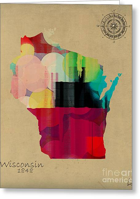 Wisconsin Art Greeting Cards - Wisconsin State Map Greeting Card by Bri Buckley