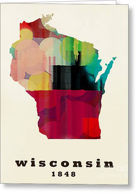 World Map Print Paintings Greeting Cards - Wisconsin State Map Modern Greeting Card by Bri Buckley