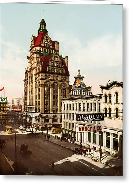 Long Ago Greeting Cards - Wisconsin Street in Milwaukee 1900 Greeting Card by Mountain Dreams