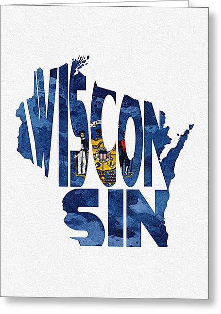 Homeland Greeting Cards - Wisconsin Typographic Map Flag Greeting Card by Ayse Deniz