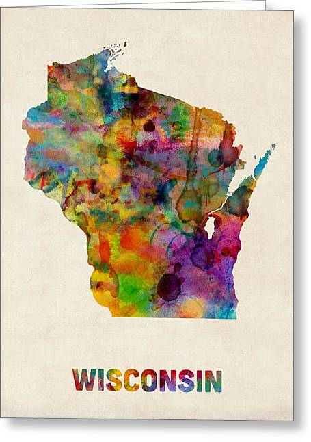 State Map Greeting Cards - Wisconsin Watercolor Map Greeting Card by Michael Tompsett