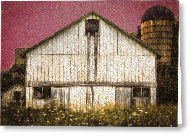 Overcast Day Digital Art Greeting Cards - Wisconsin White Barn Textured Greeting Card by Kathleen Scanlan