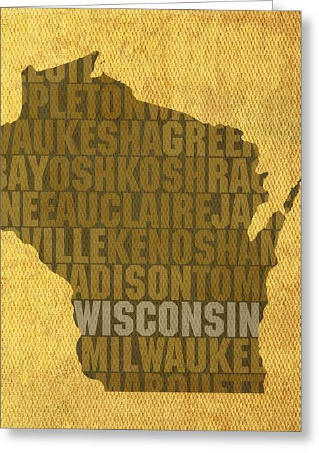 Wisconsin Art Greeting Cards - Wisconsin Word Art State Map on Canvas Greeting Card by Design Turnpike