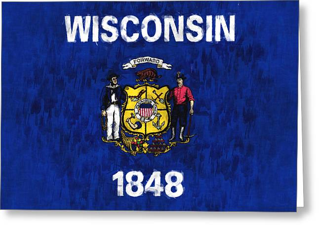 Wisconsin Flag Greeting Card by World Art Prints And Designs