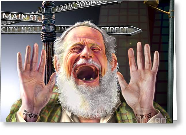 Old Man With Beard Greeting Cards - Wisdom Cries-out  Greeting Card by Reggie Duffie