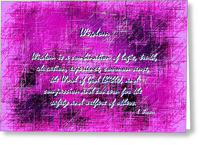 Concern Digital Art Greeting Cards - Wisdom Enhanced Violet Greeting Card by L Brown