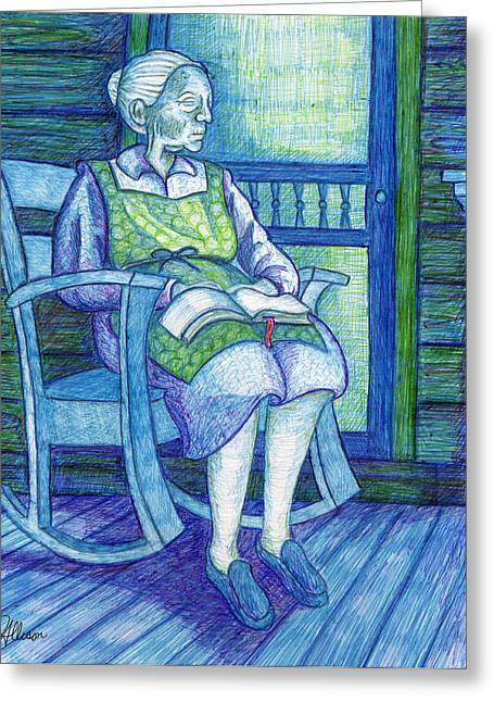 Rocking Chairs Mixed Media Greeting Cards - Wisdom Greeting Card by Jennifer Allison
