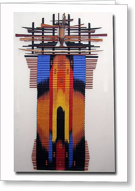 Weave Tapestries - Textiles Greeting Cards - Wisdom Greeting Card by John Gunther