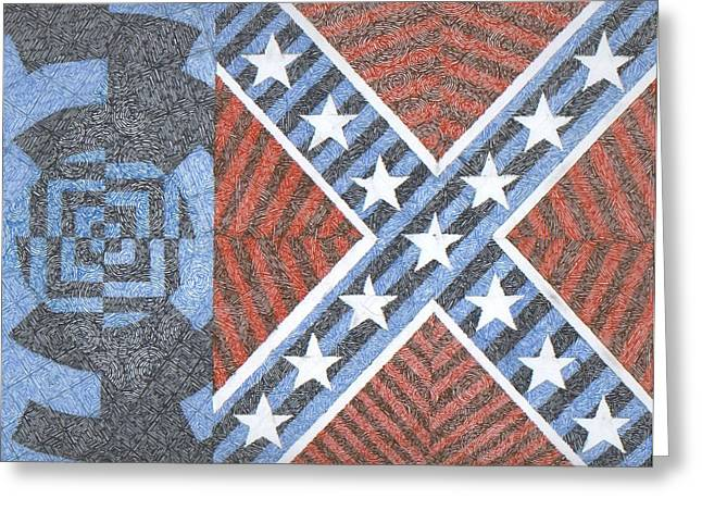 Confederate Flag Drawings Greeting Cards - Wisdom Justice Moderation Greeting Card by William Burns