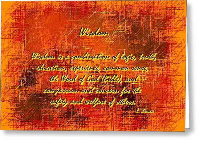 Concern Digital Art Greeting Cards - Wisdom Greeting Card by L Brown