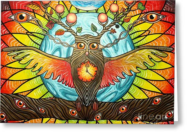 Psychedelic Owl Greeting Cards - Wisdom Needs Time Greeting Card by Tamara Baldus