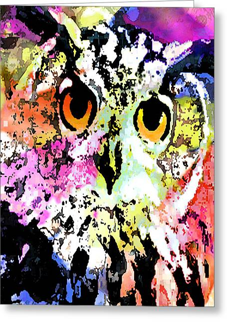 Catherine Mixed Media Greeting Cards - Wise And Colorful Owl Greeting Card by Catherine Harms