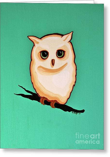 Mott Greeting Cards - Wise Little Owl Greeting Card by Rebecca Mott