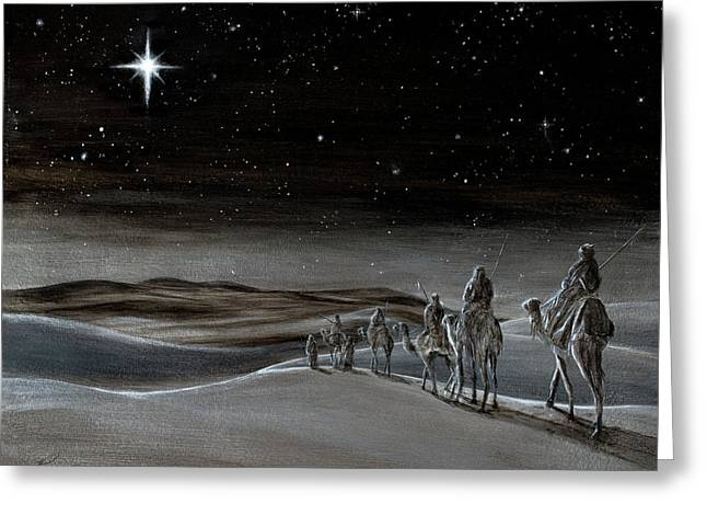 Star Of Bethlehem Paintings Greeting Cards - Wise Men from the East Greeting Card by Douglas Ramsey